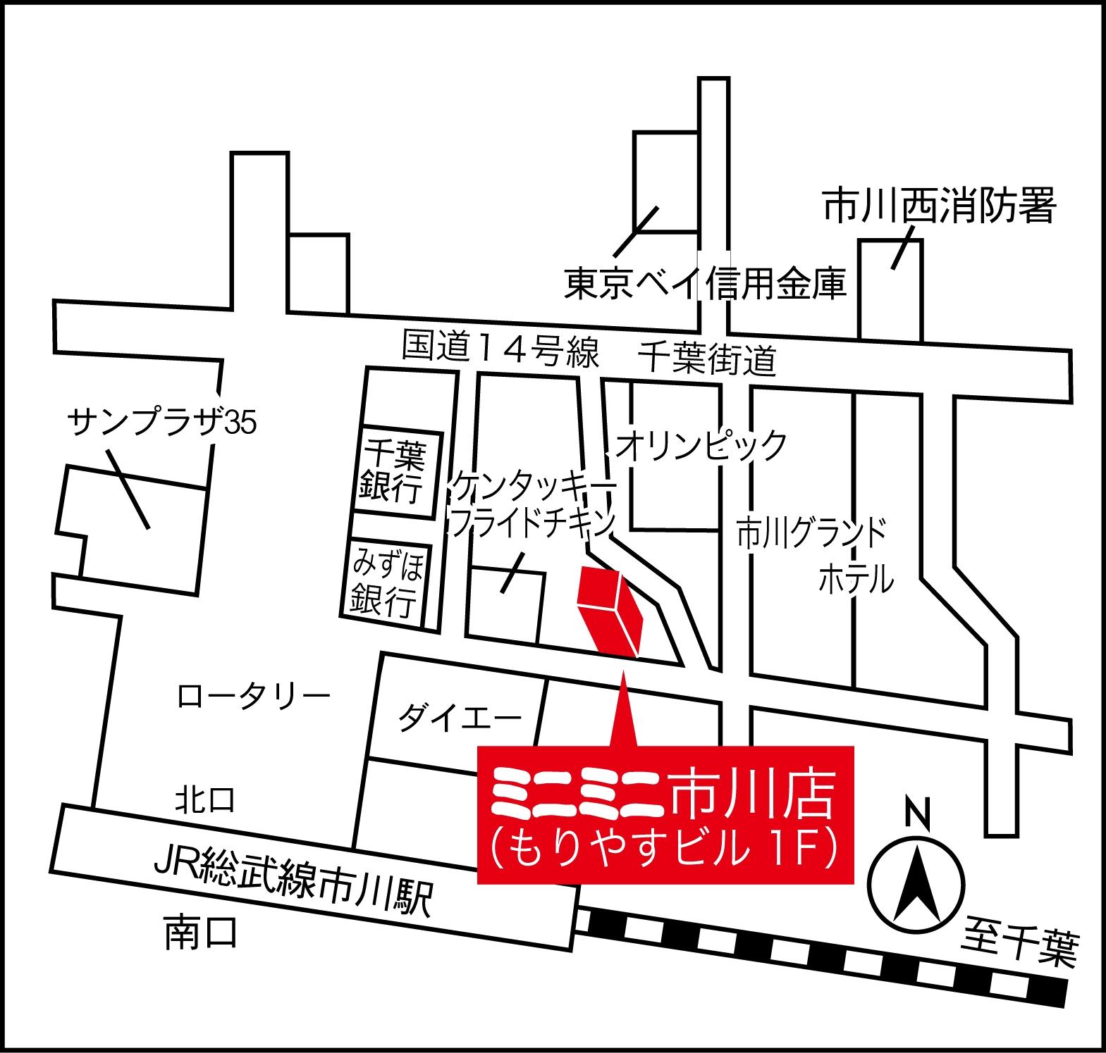 ミニミニ市川店の地図