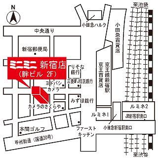 ミニミニ新宿店の地図